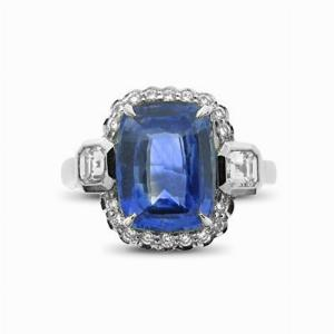 Cushion Cut Sapphire & Diamond Cluster - 4.00ct